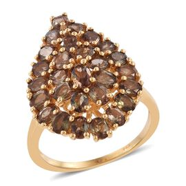 Jenipapo Andalusite (Ovl) Cluster Ring in 14K Gold Overlay Sterling Silver 4.500 Ct.