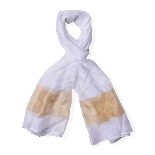 White and Brown Colour Scarf (Size 180x70 Cm)