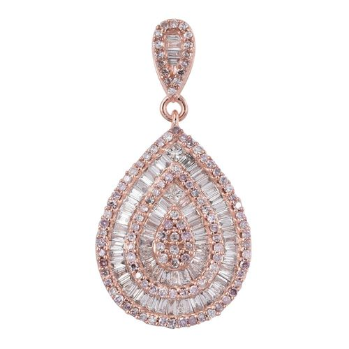 ILIANA 18K R Gold Natural Pink Diamond (Rnd), White Diamond (SI) Tear Drop Pendant 1.000 Ct.