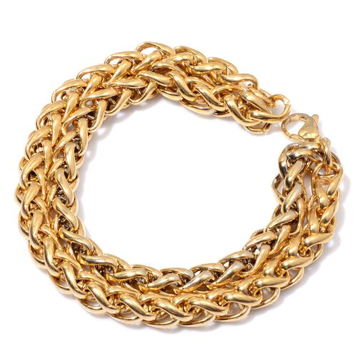 Spiga Bracelet (Size 8) in ION Plated Yellow Gold Stainless Steel