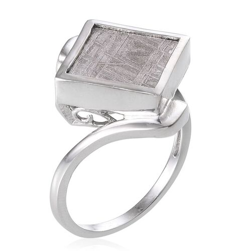 Meteorite (Sqr) Ring in Platinum Overlay Sterling Silver 13.250 Ct.