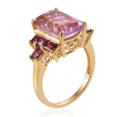 Kunzite Colour Quartz (Cush 7.75 Ct), Rhodolite Garnet Ring in 14K Gold Overlay Sterling Silver 9.500 Ct.