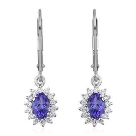 ILIANA 18K White Gold 1.25 Carat AAA Tanzanite Oval, Diamond Earrings with Lever Back.