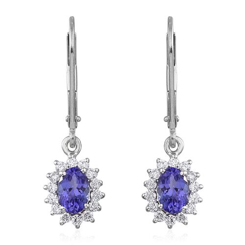 ILIANA 18K White Gold 1.25 Carat AAA Tanzanite Oval Halo Earrings, Diamond SI G-H with Lever Back.