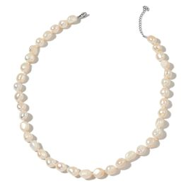 Double Shine Rare Size Fresh Water White Pearl Necklace (Size 18 with 2 inch Extender) in Rhodium Plated Sterling Silver
