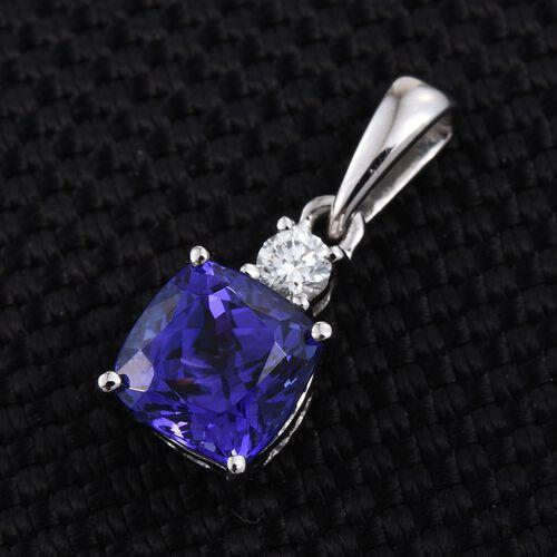 RHAPSODY 950 Platinum 1.50 Carat AAAA Tanzanite Cushion, Diamond VS E-F Pendant.