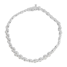Diamond (Rnd) Bracelet (Size 7) in Platinum Overlay Sterling Silver 0.500 Ct.