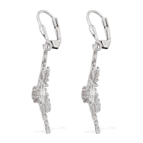 J Francis - Platinum Overlay Sterling Silver (Rnd) Snowflake Lever Back Earrings Made with SWAROVSKI ZIRCONIA