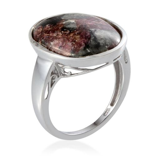Natural Russian Eudialyte (Ovl) Solitaire Ring in Platinum Overlay Sterling Silver 8.250 Ct.