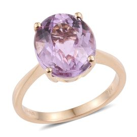 ILIANA 18K Y Gold Kunzite (Ovl) Solitaire Ring 5.750 Ct.