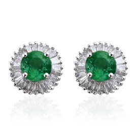 9K White Gold 1 Carat Boyaca Colombian Emerald and Diamond (I3/G-H) Halo Stud Earring (with Push Back)