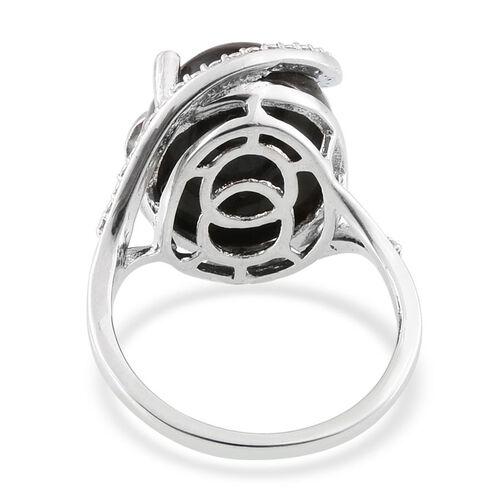 Black Jade (Ovl 12.75 Ct), Diamond Ring in Platinum Overlay Sterling Silver 12.770 Ct.