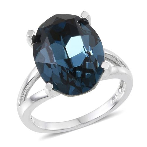Crystal from Swarovski - Montana Crystal (Ovl) Ring in ION Plated Platinum Bond