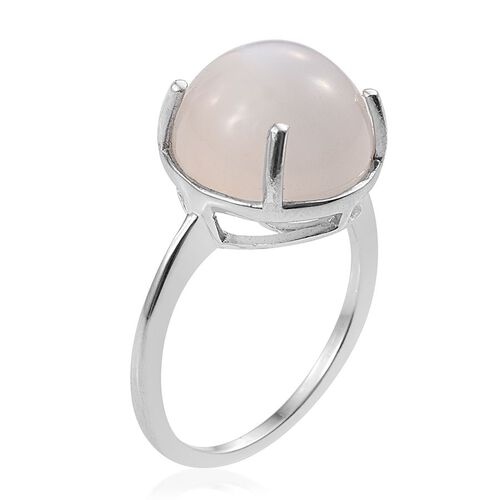 Sri Lankan White Moonstone (Rnd) Solitaire Ring in Platinum Overlay Sterling Silver 7.750 Ct.