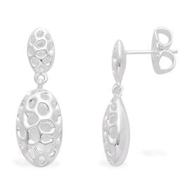 RACHEL GALLEY Sterling Silver Charmed Pebble Lattice Drop Earrings (with Push Back), Silver wt 4.32 Gms.