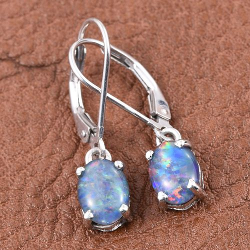 Boulder Opal Triplet (Ovl) Lever Back Earrings in Platinum Overlay Sterling Silver 1.750 Ct.