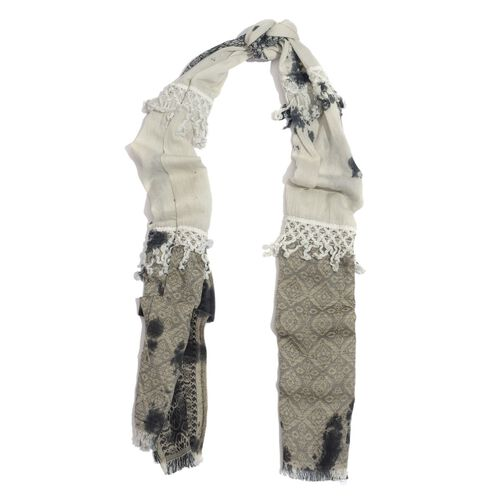 Designer Inspired 100% Cotton Tie and Dye Pattern Black and White, Grey and Multi Colour Scarf with Lace Border (Size 180x50 Cm)