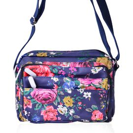 Navy with Multi Colour Floral Pattern Crossbody Bag with External Zipper Pocket and Adjustable Shoulder Strap (Size 22x17x7 Cm)