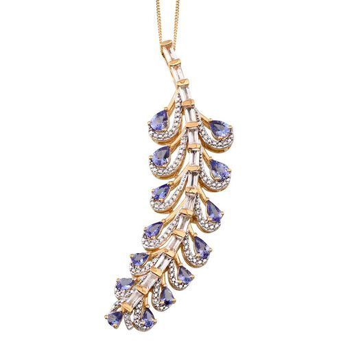 Tanzanite (Pear), White Topaz Pendant With Chain in 14K Gold Overlay Sterling Silver 5.000 Ct.