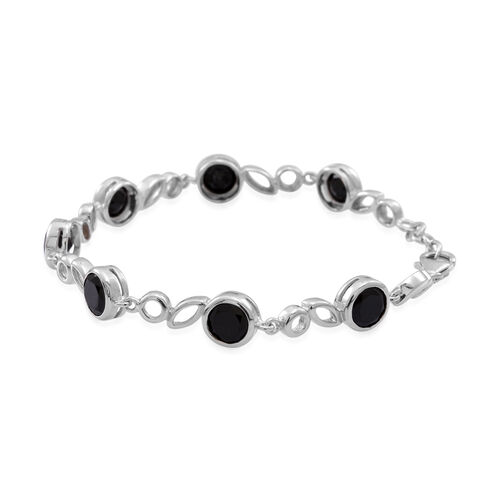 Boi Ploi Black Spinel (Rnd) Bracelet (Size 7.5 with Extender) in Rhodium Plated Sterling Silver 14.000 Ct.