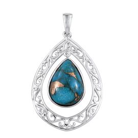 Mojave Blue Turquoise (Pear) Pendant in Platinum Overlay Sterling Silver 11.250 Ct.
