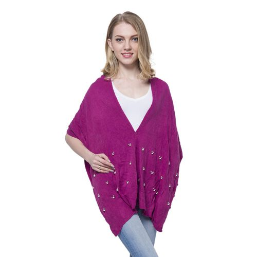 Pearl Detailed Studded Purple Colour Poncho (Size 180x45 Cm)