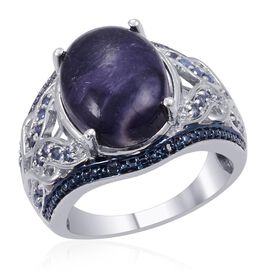 Designer Collection Utah Tiffany Stone (Ovl 7.25 Ct), Kanchanaburi Blue Sapphire and Blue Diamond Ring in Platinum Overlay Sterling Silver 7.725 Ct.