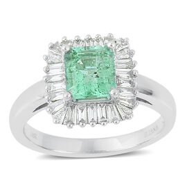 ILIANA 18K W Gold Boyaca Colombian Emerald (Oct 1.50 Ct), Diamond Ring 2.250 Ct.