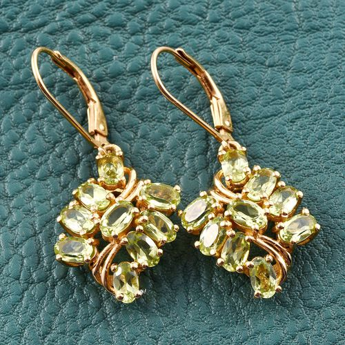 AA Hebei Peridot (Ovl) Lever Back Earrings in 14K Gold Overlay Sterling Silver 4.250 Ct.