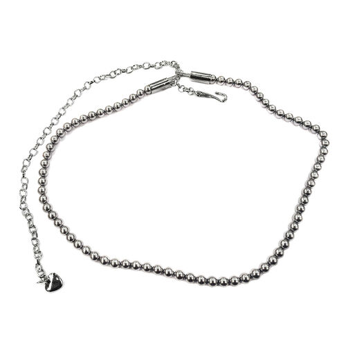 Peacock Shell Pearl (Rnd) Bead Chain (Size 41) in Silver Tone