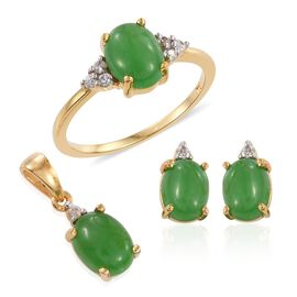 Green Jade (Ovl), Natural Cambodian Zircon Ring, Pendant and Stud Earrings (with Push Back) in 14K Gold Overlay Sterling Silver 7.250 Ct.