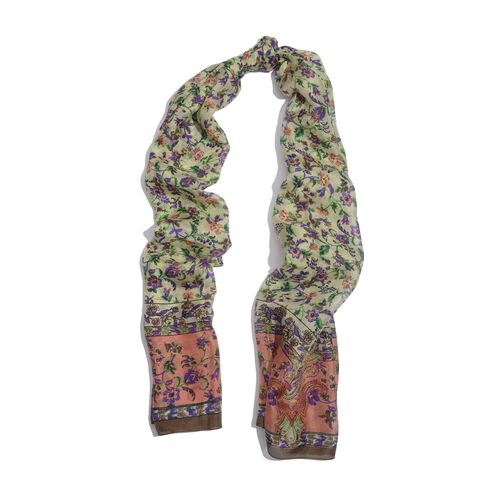 100% Mulberry Silk Multi Colour Flowers and Leaves Printed Purple and Lemon Colour Scarf (Size 175x100 Cm)