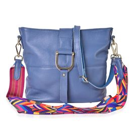 Genuine Leather Blue Colour Shoulder Bag (Size 29x26x23x13 Cm) with External Zipper Pocket and Multi Colour Removable Shoulder Strap