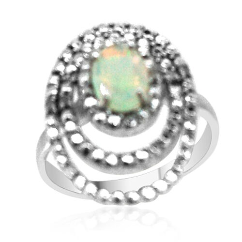 Ethiopian Welo Opal (Ovl 0.75 Ct), Diamond Ring in Rhodium Plated Sterling Silver 0.780 Ct.