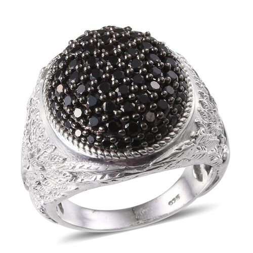 Boi Ploi Black Spinel (Rnd) Cluster Ring in Platinum Overlay Sterling Silver 2.500 Ct.