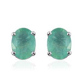14K W Gold Boyaca Colombian Emerald (Ovl) Stud Earrings (with Push Back) 2.000 Ct.
