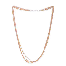 Close Out Deal Rose, White and Yellow Gold Overlay Sterling Silver Multi Strand Chain (Size 19), Silver wt 10.50 Gms.