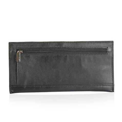 Genuine Leather RFID Blocker Black Colour Wallet (Size 20x8 Cm) with Card Holder