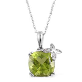 9K W Gold AAA Hebei Peridot (Cush 3.50 Ct), White Zircon Pendant With Chain 3.540 Ct.
