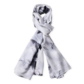 New Season-100% Mulberry Silk Silver and Black Colour Floral Pattern Grey Colour Scarf (Size 175x110 Cm)