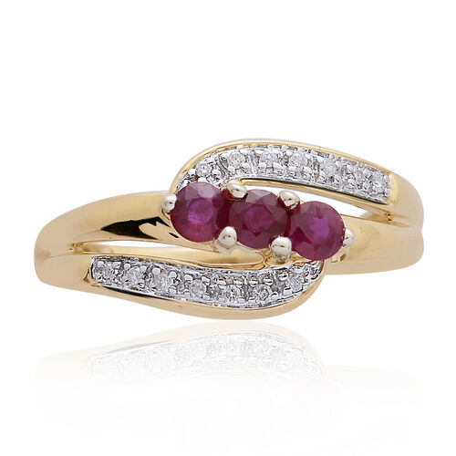 9K Yellow Gold 0.56 Carat Burmese Ruby Trilogy Bypass Ring, SGL Certified Diamond I3/G-H.