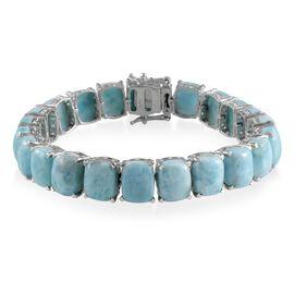 Larimar (Cush) Bracelet in Platinum Overlay Sterling Silver (Size 7.5) 81.500 Ct.