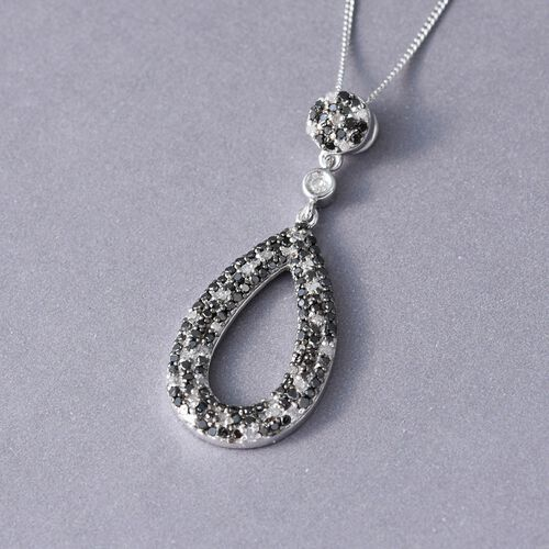 Black Diamond (Rnd), White Diamond Pendant with Chain in Platinum Overlay Sterling Silver 0.750 Ct.