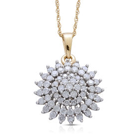 9K Yellow Gold SGL Certified Diamond (Rnd) (I3/ G-H) Cluster Pendant With Chain 1.000 Ct.