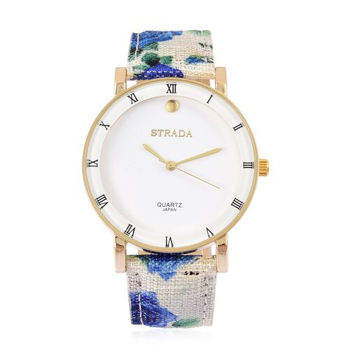 STRADA Japanese Movement Roman Numerals Watch in Gold Tone with Blue Colour Floral Strap and Stainless Steel Back