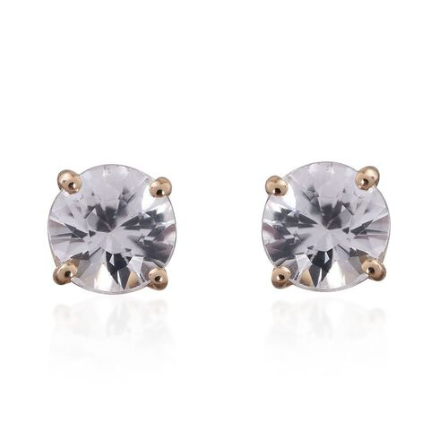 9K Y Gold AAA Natural Cambodian Zircon (Rnd) Stud Earrings (with Push Back) 1.250 Ct.