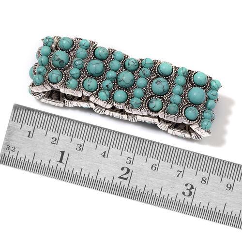 Blue Howlite Bracelet in Silver Tone (Size 7) 11.000 Ct.