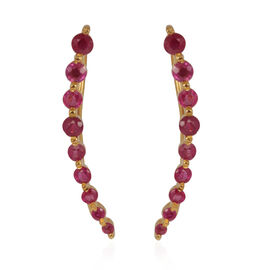 AAA Burmese Ruby (Rnd) Climber Earrings in 14K Yellow Gold Overlay Sterling Silver 1.250 Ct.