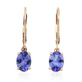 ILIANA 18K Y Gold AAA Tanzanite (Ovl) Lever Back Earrings 1.750 Ct.