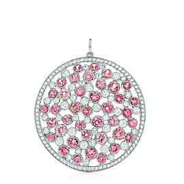 Pink Sapphire (Rnd), White Topaz Pendant in Rhodium Plated Sterling Silver 7.020 Ct.